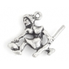 Pendant-Curling Girl 19mm With Broom Antique Silver